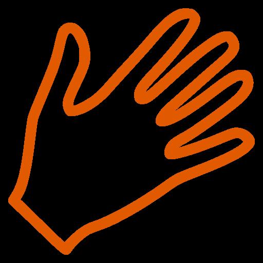 Icône de main orange (symbole png)