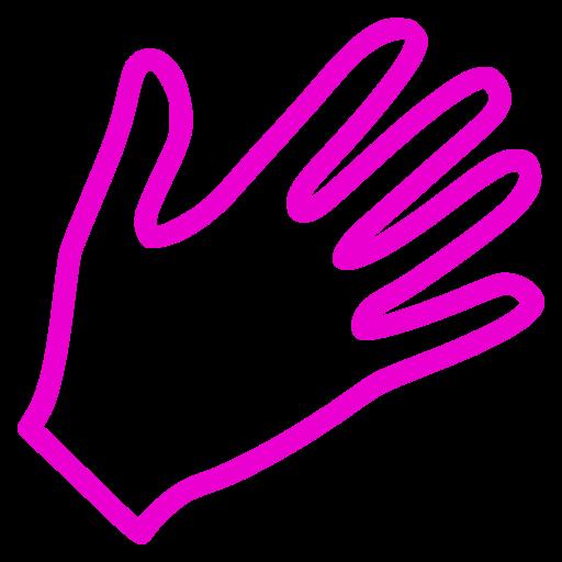 Icône de la main rose (symbole png)