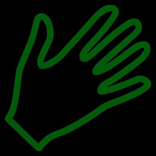 Icône de la main verte (symbole png)