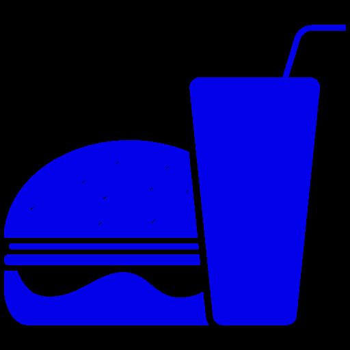 Icône de nourriture hamburger bleu (symbole png)