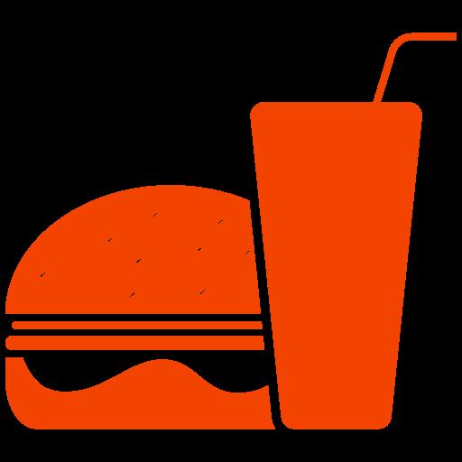 Icône de nourriture hamburger orange (symbole png)