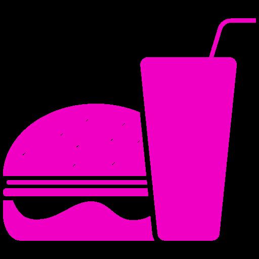 Icône de nourriture hamburger rose (symbole png)
