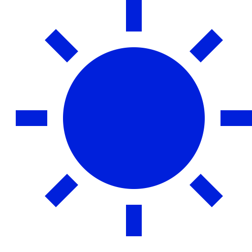 Icône de soleil bleu (symbole png)