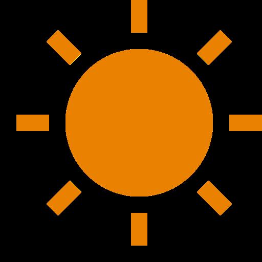 Icône de soleil orange (symbole png)