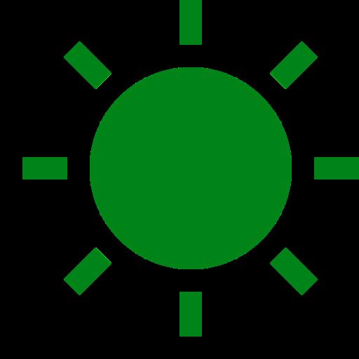 Icône de soleil vert (symbole png)