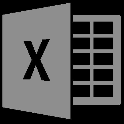 Icône Excel (symbole png) grise