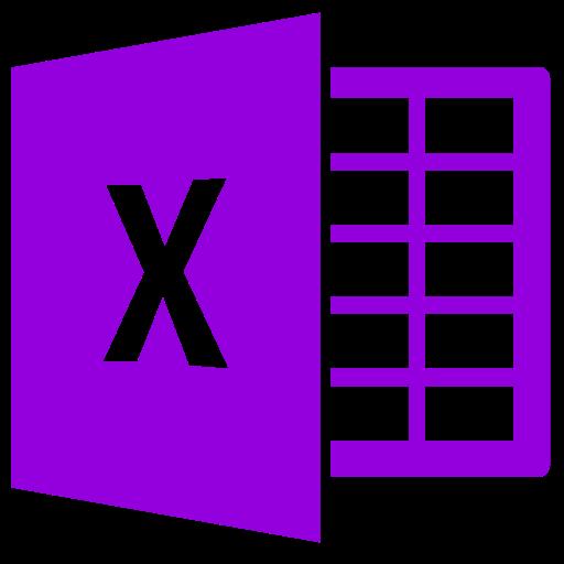 Icône Excel (symbole png) violet