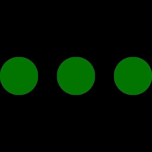 Icône de menu de cercles verts (symbole png)