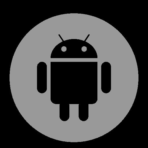 Icône de robot Android gris (symbole du logo png)