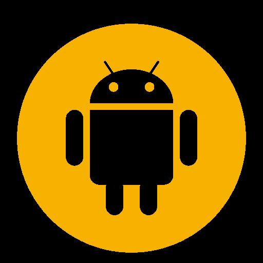 Icône de robot Android jaune (symbole du logo png)