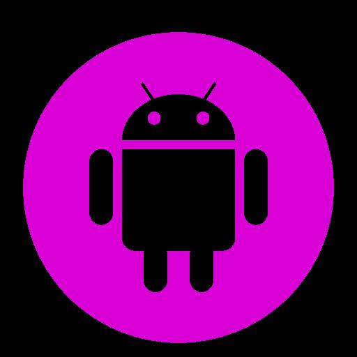 Icône de robot Android (symbole du logo png) rose