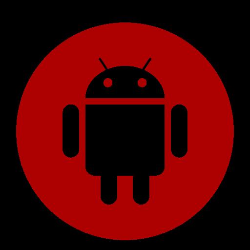 Icône de robot Android (symbole du logo png) rouge