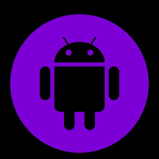 Icône de robot Android violet (symbole du logo png)