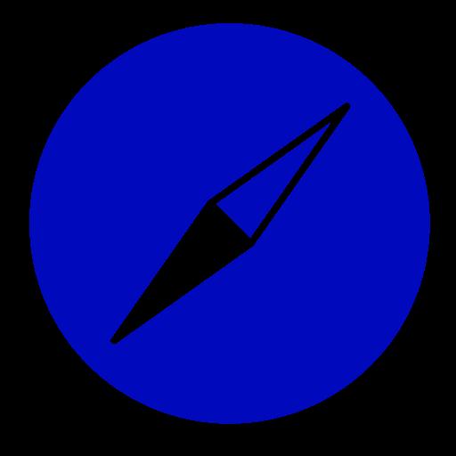 Icône Safari (symbole du logo png) bleu