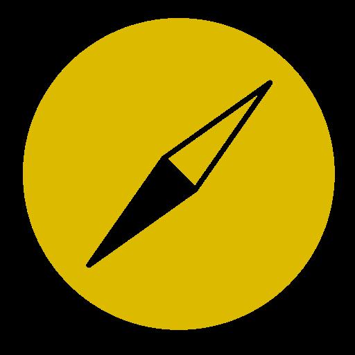 Icône Safari (symbole du logo png) jaune
