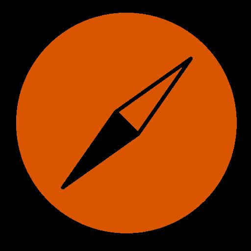 Icône Safari (symbole du logo png) orange