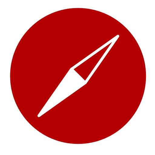 Icône Safari (symbole logo png) rouge