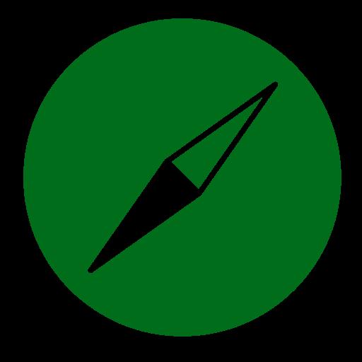 Icône Safari (symbole du logo png) vert