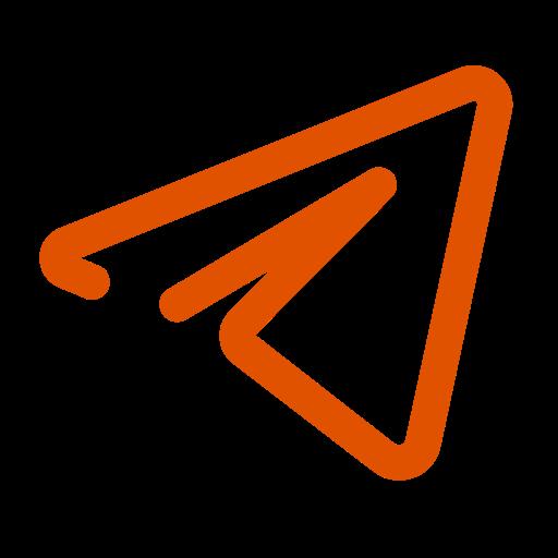 Icône de télégramme (symbole du logo) orange