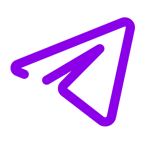 Icône de télégramme violet (symbole du logo)