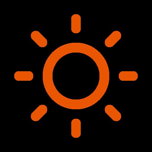 Symbole du soleil orange (icône png)