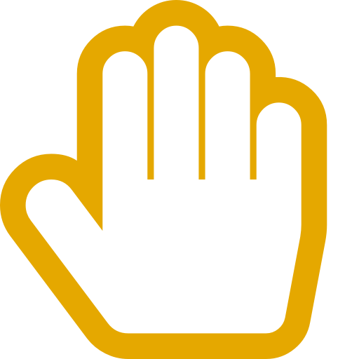 Symbole de la main jaune (icône png)