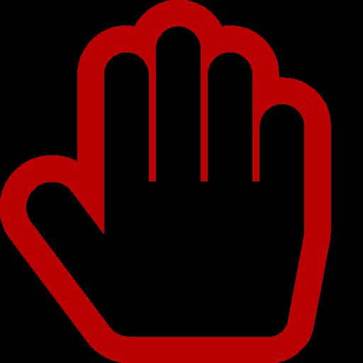 Symbole de la main rouge (icône png)
