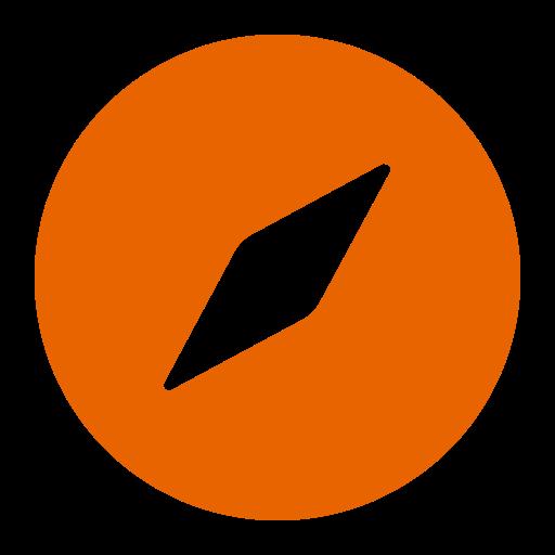 Symbole Safari (icône du logo png) orange