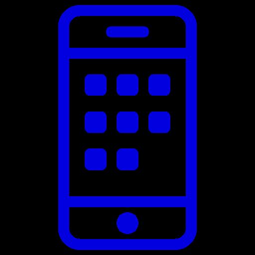 Symbole de téléphone mobile bleu (icône png)