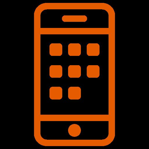 Symbole de téléphone portable (icône png) orange