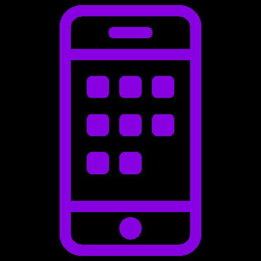 Symbole de téléphone portable (icône png) violet
