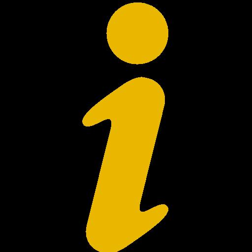 Icône de lettre d'information jaune I (symbole png)
