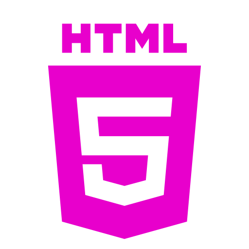 Icône HTML rose (symbole du logo png)