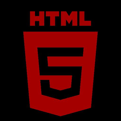 Icône HTML rouge (symbole du logo png)
