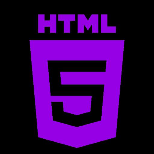 Icône HTML violette (symbole du logo png)