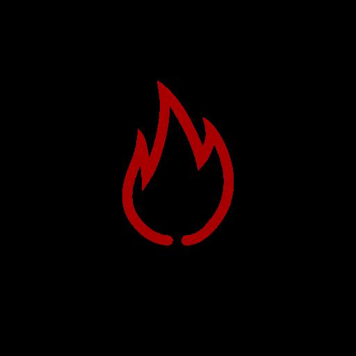 Symbole de feu (icône png) rouge