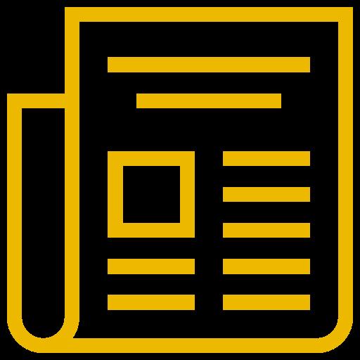 Icône de nouvelles (symbole png) jaune