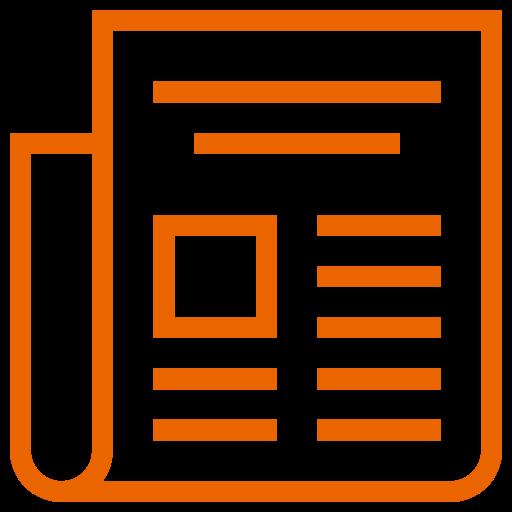 Icône Actualités (symbole png) orange