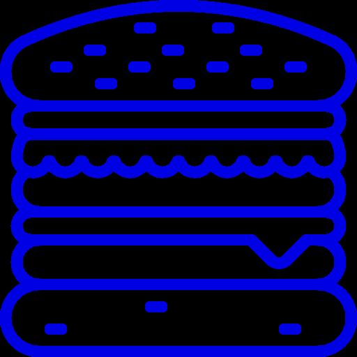 Icône Burger (symbole png) bleu