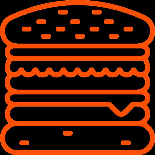 Icône Burger (symbole png) orange