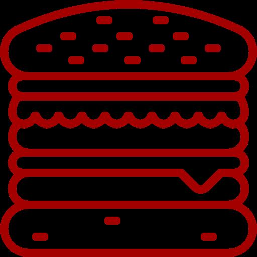 Icône Burger (symbole png) rouge