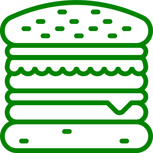 Icône Burger (symbole png) vert