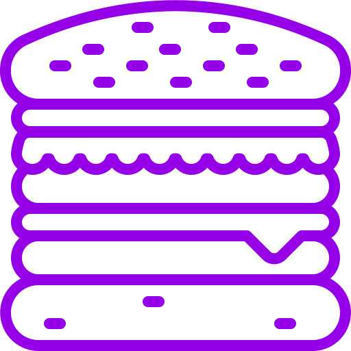Icône Burger (symbole png) violet