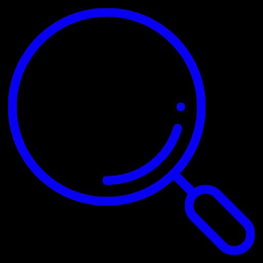 Symbole de la loupe (symbole png) bleu