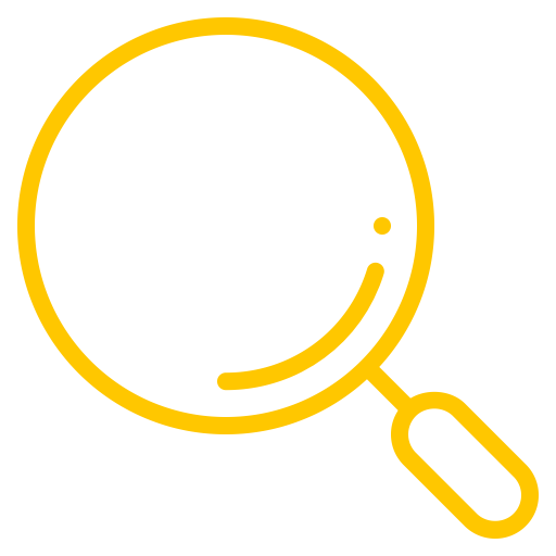Symbole de la loupe (symbole png) jaune