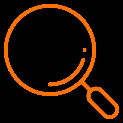 Symbole de la loupe (symbole png) orange