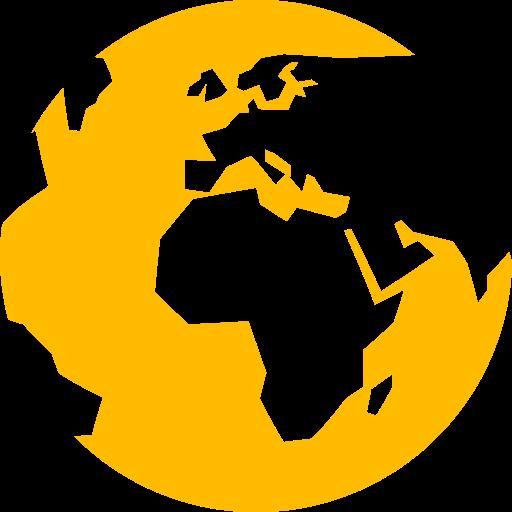 Symbole du monde (icône png) jaune