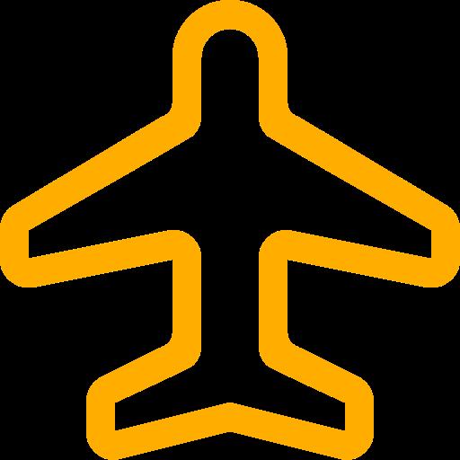 Symbole de voyage (symbole png) avion jaune