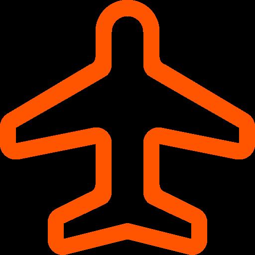 Symbole de voyage (symbole png) avion orange