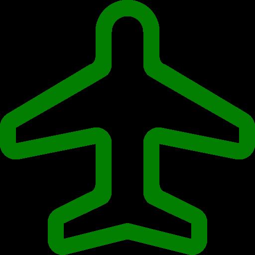 Symbole de voyage (symbole png) avion vert